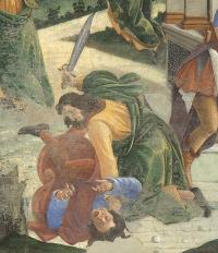 Mosè uccide l'egiziano - Botticelli particolare
