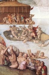 Genesi: Diluvio universale - arca di Noè e uomini in salvo
