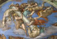 Giudizio: angeli con strumenti della Passione (colonna e dadi - lunetta destra)