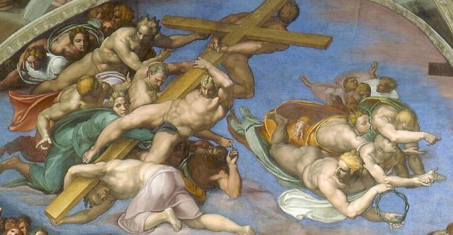 Giudizio: angeli con gli strumenti della Passione (croce e corona di spine - lunetta sinistra)