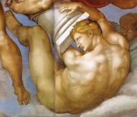 Giudizio: un angelo sorregge la colonna della flagellazione