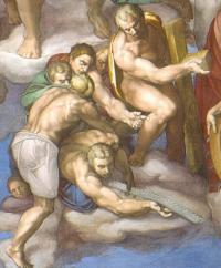 Giudizio: Longino, Simone lo Zelota e il Cireneo