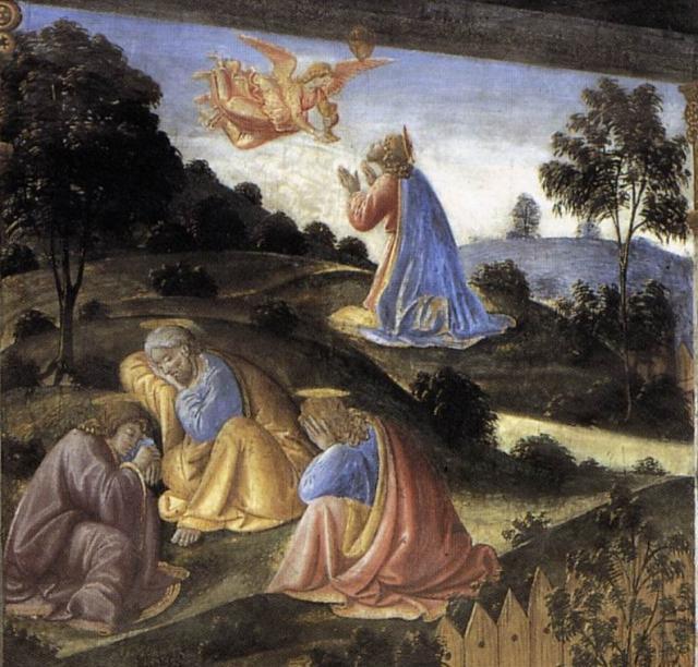 Ultima Cena: preghiera di Gesù nell'orto (particolare)